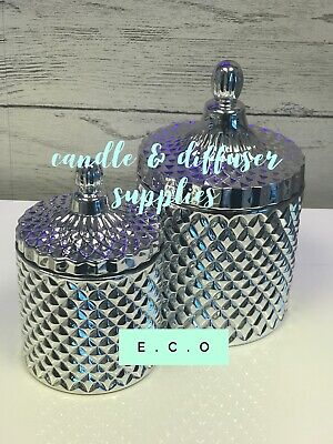 New Cut Glass Geo Jar Small Metallic Silver Glass For Candle Making Single 220g • 6.99£