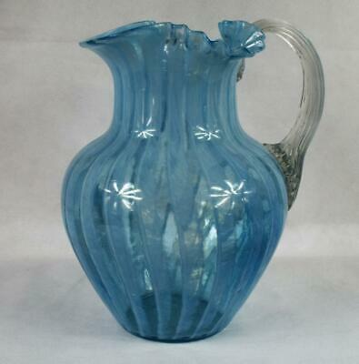 Vintage Fenton Studio Art Glass~Pitcher~Jug~Striped~Spiral~Opalescent~Hand Blown • 30£
