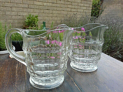 Pair Of Vintage Jacobean Large Heavy Pressed Glass Jugs • 14£