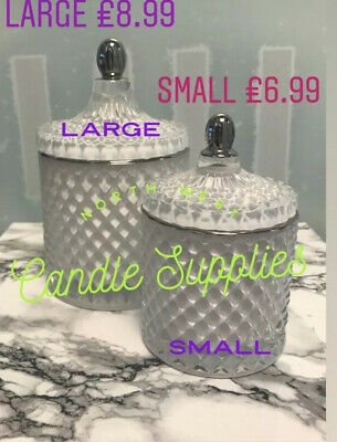 New Cut Glass Geo Jar Large White With Silver Trim Glass For Candle Making 440g • 8.99£