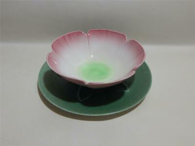 Branksome Two Tone Pink And Green Lily Dessert Bowl And Saucer. • 14.97£