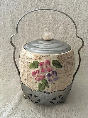 Vintage Wade Pottery Biscuit Barrel With Chrom Lid & Stand - Retro • 27.50£