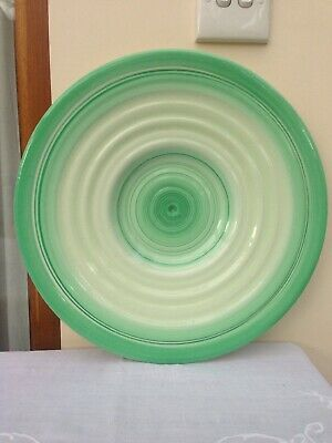 Art Deco Shelley Harmony Large Green Banded Charger Or Wall Plaque 14   • 55£