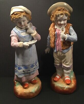 19th Century Bisque Glazed Boy And Girl Figurines. Hand Crafted And Hand Painted • 40£