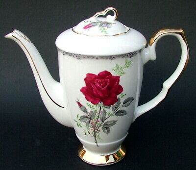 Royal Stafford Roses To Remember Red 1.5pt Coffee Pot & Lid 21cmh - Looks In VGC • 24.95£