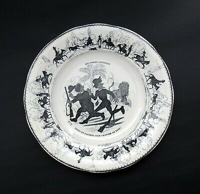 Scarce Antique Comical French Plate - Chinese Shadows Lion Hunting. C.1890s • 18£