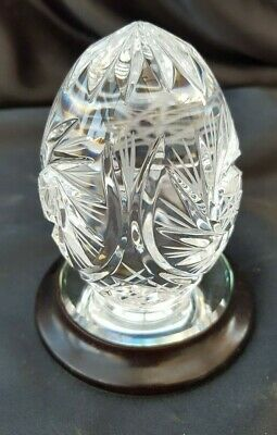 Mayflower Cut Glass Egg On Mirror Stand  Plinth Ornament - Lovely • 18.99£