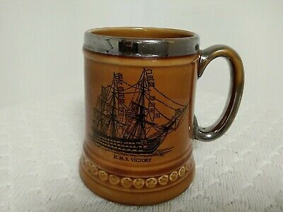 Lord Nelson Pottery Tankard~ H.M.S. Victory • 14.99£