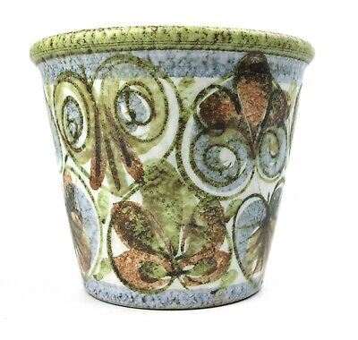 Stduio Pottery Pot Planter Jardiniere Leaf Spray Stoneware Green White Blue • 14.99£