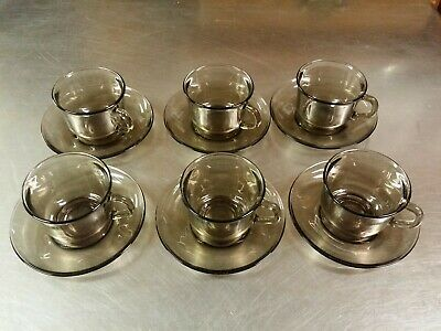 Set Of 6 Vintage Arcoroc France Demitasse Espresso Smoked Glass Cups & Saucers • 30.86£