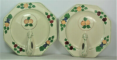 Adams Titian Ware - Fruit Pattern - Pair Of Octagonal Sandwich Plate With Handle • 34.99£
