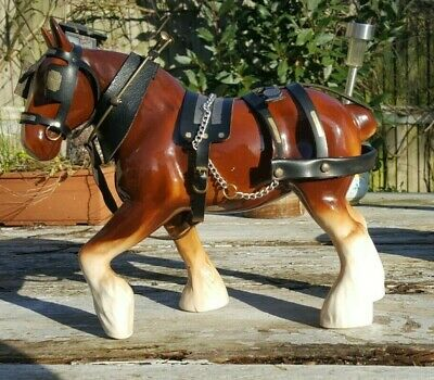 Large Vintage Ceramic Brown Shire Horse With Harness VGC • 40£
