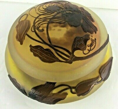 Signed Galle Powder Jar Box French Cameo Glass Antique C.1900 • 1,060.74£