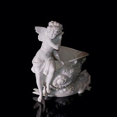 Stunning Antique Parian Bisque Cupid Figure On A Shell Bowl With Dolphins • 150£