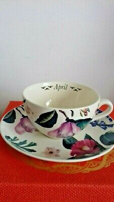 Spode Flowers Of The Month Cup And Saucer April • 12£