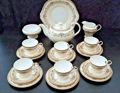 Aynsley Henley Tea Set For Six Persons Green Backstamp - 22 Pieces • 115.99£