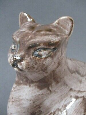 "A Large 7"" Retro Vintage David Sharp Rye Pottery Siamese Cat Figure Ornament  • 35£"