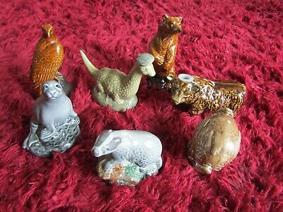 7 Empty Miniature Whisky Flasks. 5 Beswick Beneagles, 1 Wade & 1 Unmarked (Bull) • 55£