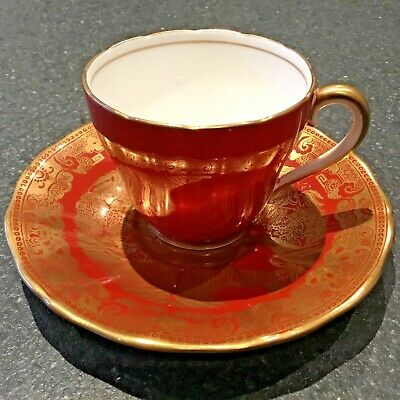 Adderley Fine Bone China Cabinet Cup & Saucer, Terracotta & Gold, Lawley Saucer • 15£