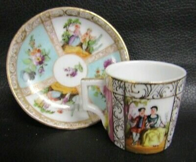 Dresden Turquoise Watteau Courting Couple Miniature Cup & Saucer • 35£