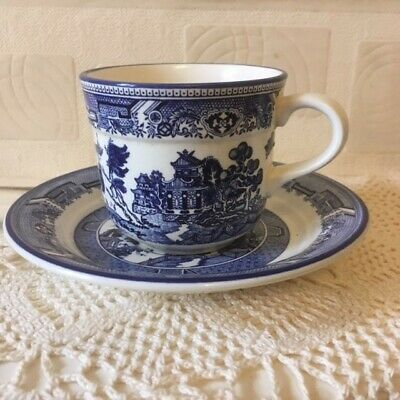 Vintage Arklow Pottery Ireland  Willow  Cup & Saucer 1970s  • 9.75£