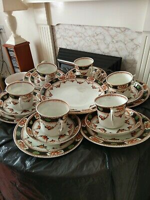 Royal Vale Very Old HJC Longton  6 X Trios... 6 Cups, 6 Saucers, 6x Small Plates • 29£