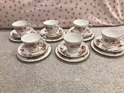 ROYAL VALE Pink & Yellow Roses Cup & Saucer & Plate X 6  • 20£
