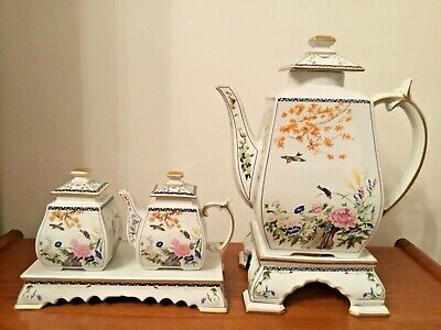 Franklin Mint Birds & Flowers Of The Orient Teapot & Stand, Milk & Sugar & Stand • 50£