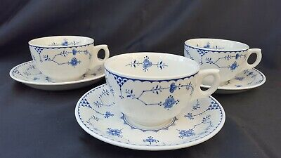 Furnivals Masons BLUE DENMARK CAPPUCCINO COFFEE LARGE BREAKFAST CUPS/SAUCERS X 3 • 36£