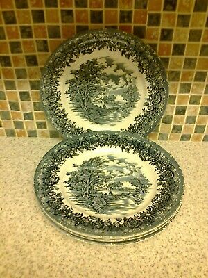 W H Grindley Staffordshire Country Style Blue & White 4 X Dinner Plates • 12.99£