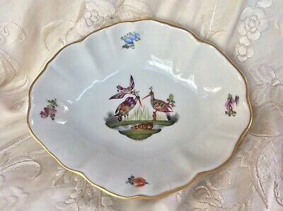 Herend Porcelain Oval Shaped Dish Exotic Birds Storks Hungary • 35£