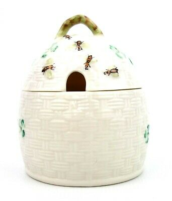 Belleek Porcelain Kylemore Honey Pot Jar Beehive Basketweave • 24.99£