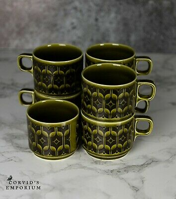 Hornsea Heirloom Green - 6 X Tea / Coffee Cups And Sugar Bowl  • 19.99£