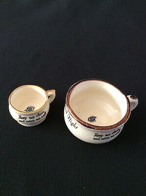 "X2 Vintage Miniature Ceramic Potty Toilet ""GOOD NIGHT"" Poem And All Seeing Eye. • 4£"