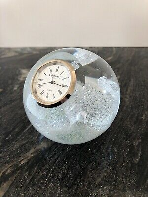 Vintage Caithness Glass Paperweight Clock Bubble Wave Pattern. • 9.99£