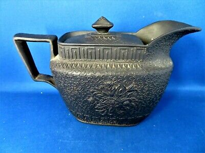 Antique Early 19thc Rare Black Basalt Covered Jug C1810 - Chinese Chamber Pot • 65£