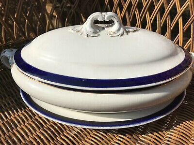 Vintage Booths England Silicon China Serving Dish With Lid + Plate Blue White • 6.50£