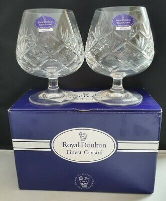 ROYAL DOULTON CRYSTAL HELLENE PATTERN 2 X BRANDY BALLOON GLASSES UNUSED BOXED • 15£