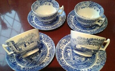 Spode. Italian Blue And White. Set Of 4 Cups. C.1816. • 25£