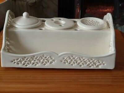 Royal Creamware Originals Reticulated Ink Stand /pen Tray • 38£