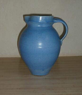 Large C H Brannam Of Barnstaple Devon Blue Glaze Pottery Jug Good Cond 8.5 Ins • 28£