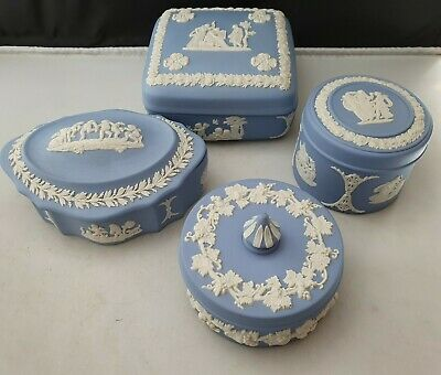 WEDGWOOD PALE BLUE JASPER 4 X LIDDED TRINKET BOXES, SQUARE ROUND OVAL • 4.95£