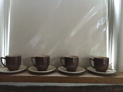 Branksome Beautiful Vintage Coffee Cups And Saucers X 4 Cappuccino Colour • 6£