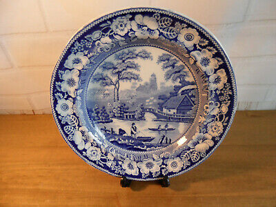 Antique Blue & White Wild Rose Pattern Plate C1840s Nuneham Courtney Nr Oxford • 3.99£