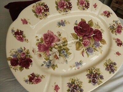 Vintage Artone Pottery Stunning Floral Stoneware Meat Poultry Platter Charger • 65.99£