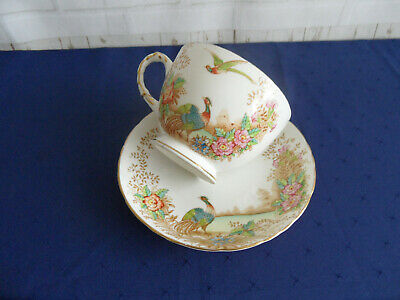 Large Sutherland Breakfast Cup & Saucer -- Exotic Bird Design  • 3.99£