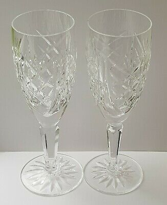 WATERFORD CRYSTAL - 2 X GLENGARRIFF CHAMPAGNE FLUTES - 7.25  - EXCELLENT COND.  • 4.70£