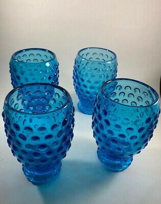 Vintage Fenton? Hobnail Blue Glass Footed Tumblers 4 Stunning! • 40.32£