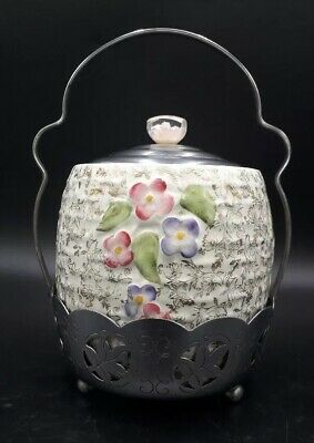 Vintage Wade Pottery Biscuit-ice Barrel With Chrom Lid & Stand - Retro. • 22£