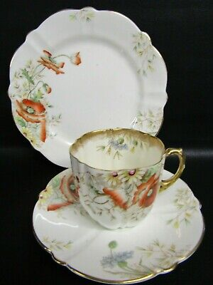 Antique Aynsley Hand Painted Poppy Pattern Tea Cup, Saucer & Plate - Dated C1891 • 50£